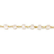Vermeil Beaded Chain with Facetted Rose Quartz Cubes 6mm - per foot