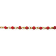 Vermeil Beaded Chain with Round Coral - per foot