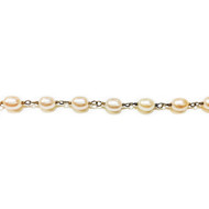 Vermeil Beaded Chain with Peach-Coloured Rice Pearls 6x8mm - per foot