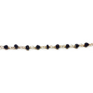 Sterling Silver Beaded Chain with Black Spinel 3-4mm - per foot