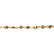 Vermeil Beaded Chain with Gold-Plated Pyrite 3-4mm - per foot