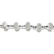 Oxidized Sterling Silver Beaded Chain with 8mm Quartz - per foot