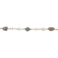 Vermeil Beaded Chain with Labradorite Nuggets and Freshwater Pearls - per foot