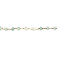 Vermeil Beaded Aqua-Quartz Chain with Freshwater Pearls 6mm - per foot