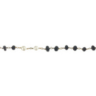 Vermeil Beaded Freshwater Pearl and Black Spinel Chain 6mm - per foot