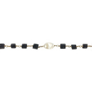 Vermeil Beaded Chain with Freshwater Pearl and Facetted Square Garnet  - per foot