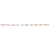 Sterling Silver Cherry Quartz Beaded Chain - per foot