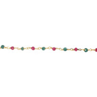 Vermeil chain with Ruby and Emerald Beads - per foot