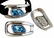 Zamak Silver Connector .52x28mm with Aquamarine Swarovski Crystal - each