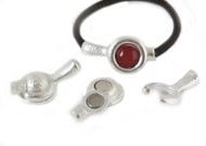 Silver Zamak Magnetic Clasp 40x21mm for 12mm Cabochon (Inner 5mm) - each