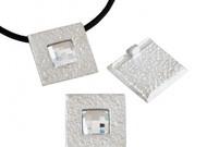 Silver Zamak Square Pendant with Swarovski Crystal 28mm (inner 4mm) - each