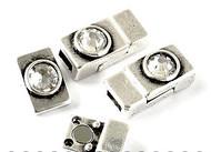 Silver Zamak Magnetic Clasp with Swarovski Crystal 22x10x6mm (inner 6x3mm) - each