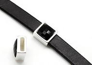 Silver Zamak Square Slider with Jet Swarovski Crystal 13mm (inner 10x3mm) - each