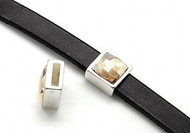 Silver Zamak Square Slider with Crystal Golden Shadow Swarovski Crystal 13mm (inner 10x3mm) - each