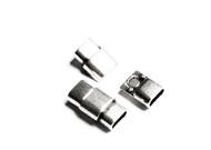 Silver Zamak Flat Magnetic Clasp 25x14mm (Inner 10x5mm) - each