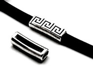 Silver Zamak Greek Key Slider 41x14mm (10x7mm for licorice leather)  - each