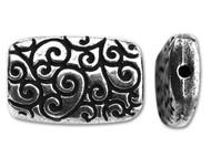 Tierra Cast Antique Silver Rectangle Scroll Bead each (20467)