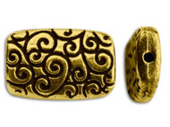 Tierra Cast Antique Gold Rectangle Scroll Bead each
