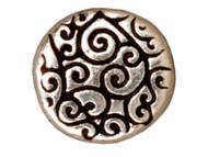 TierraCast  Antique Silver Round Scroll Bead each