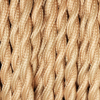 Bisque - Twisted Cloth Covered Wire (250 Ft / Roll)