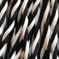Black and White - Dual Color Twisted Cloth Covered Wire (250 Ft / Roll)