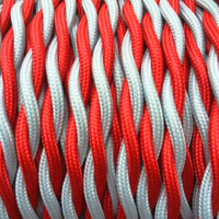Red and Silver - Dual Color Twisted Cloth Covered Wire (250 Ft / Roll)