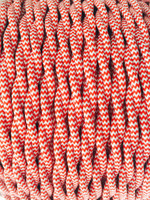 Zig-Zag Red and White - Dual Color Twisted Cloth Covered Wire (250 Ft / Roll)