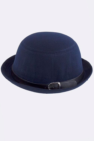 ROUND ROP DERBY HAT WITH MINIMAL BELT ACCENT