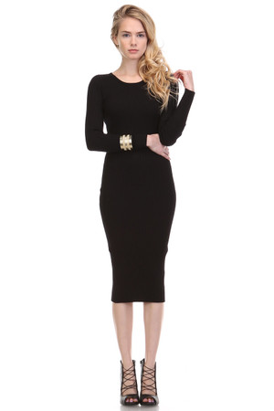 Bodycon Knit Black Dress