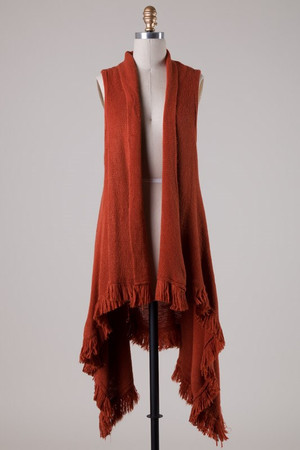 Rust Fringe Vest One Size