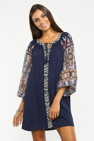 Mix Print Tunic Dress
