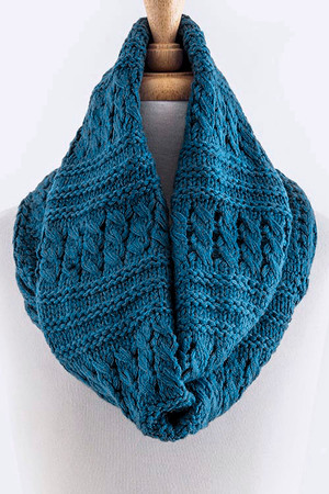 MIX PATTERN WOVEN INFINITY SCARF BLUE