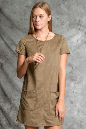 SHORT SLEEVE SUEDETTE DRESS