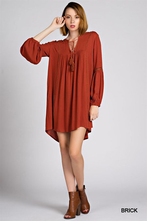 BOHEMIAN LACE TUNIC DRESS RUST