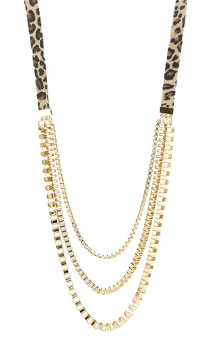Belle Noel Leopard Suede & Chain Swag Necklace by Kim Kardashian