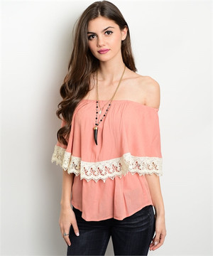 OFF SHOULDER PEACH CREAM LACE TRIM TOP