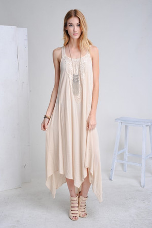 HI-LO MAXI DRESS WITH DETAIL CREAM