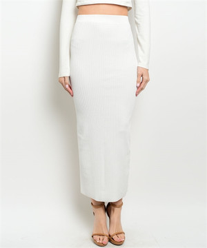 WHITE  RIBBED MAXI SKIRT