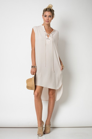 NATURAL SLEEVELESSS SHIRT DRESS