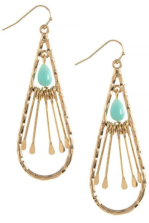 BAR FRINGE BEADED TEARDROP EARRINGS TURQOISE GOLD