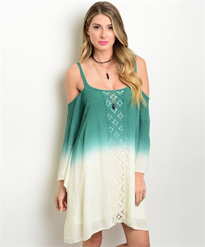 JADE CREAM OMBRE BOHO DRESS
