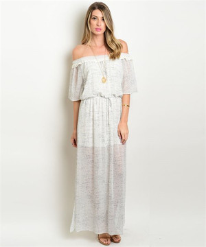 IVORY BLACK OFF SHOULDER MAXI DRESS