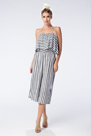 SLEEVELESS TIE BACK RUFFLE STRIPE JUMPSUIT