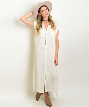 Collared Button Down Dress Off White