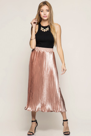 METALLIC FOIL MIDI SKIRT