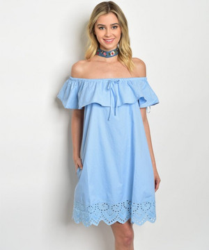 OFF THE SHOULDER SKY BLUE DRESS