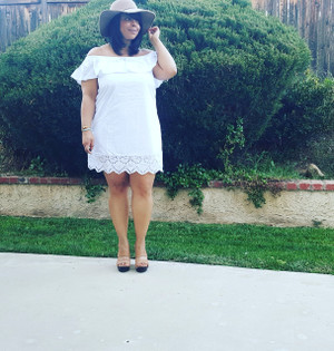 OFF THE SHOULDER SKY WHITE DRESS
