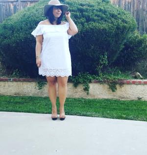 OFF THE SHOULDER SKY WHITE DRESS