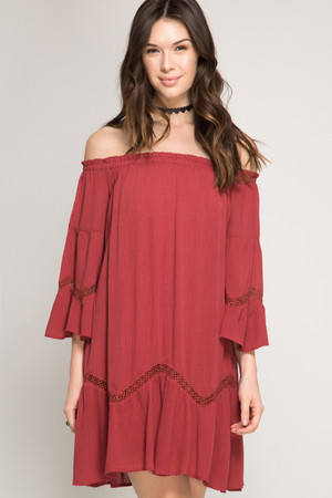 DUSTY FIESTA 3/4 BELL SLEEVE OFF SHOULDER SWING DRESS