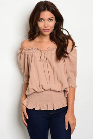 OFF THE SHOULDER TAUPE TOP